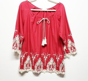 Easel Maroon Red Peasant Boho Embroidered Blouse